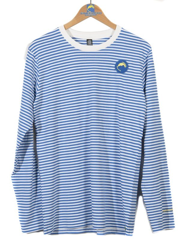 Fritidsklader long sleeve striped tee in blue and white