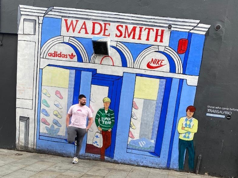 Wade Smith Liverpool Paul Curtis mural on Fleet Street commemorating the site of the original Wade Smith store