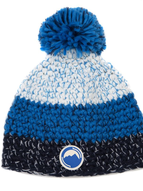 Fritidsklader 3 colour bobble hat in black blue & white